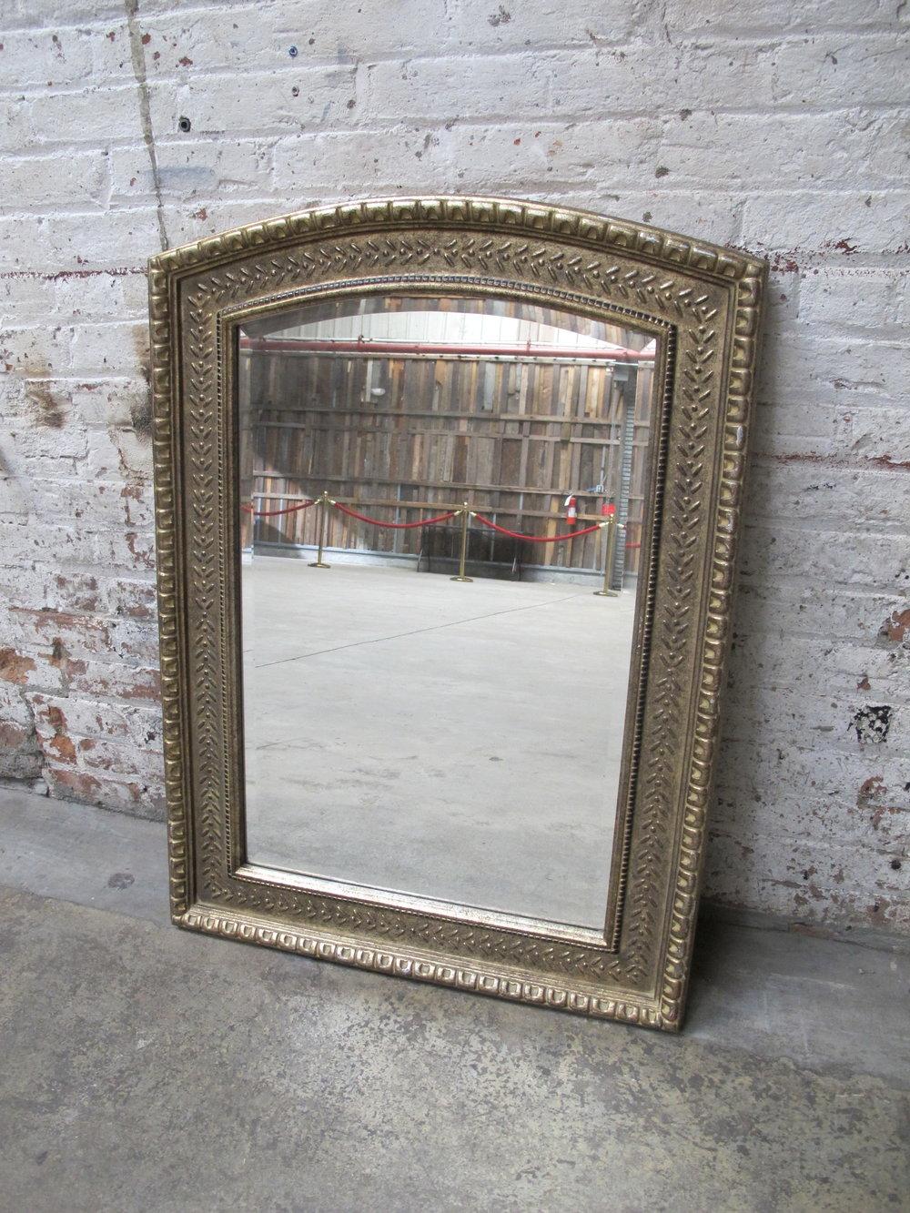 Silver Beveled Round-Top Mirror $100