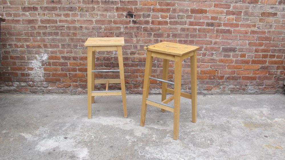 Light Wood Square Stools (2) $30/ea