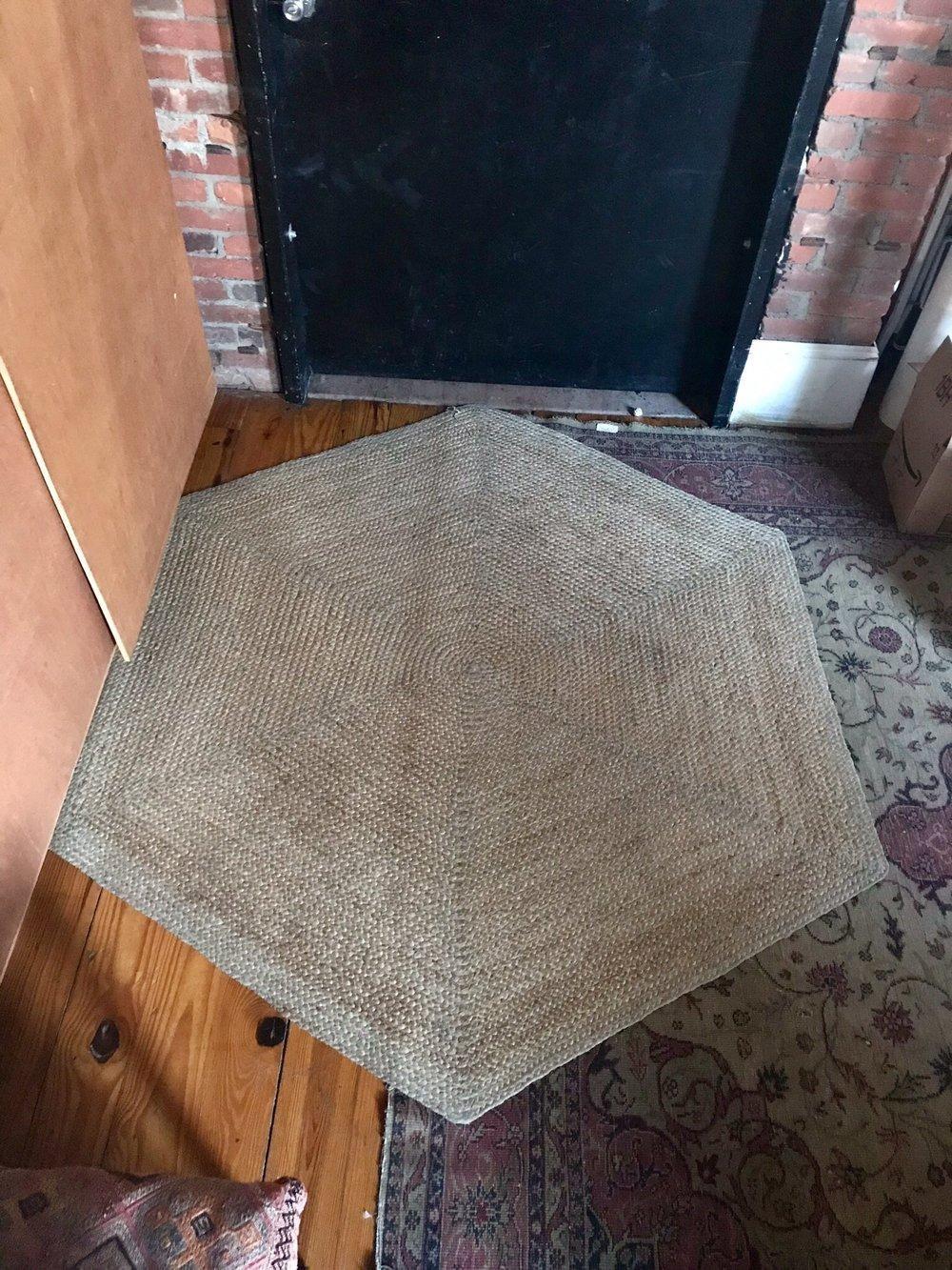 """Beige Hexagon rug 74""""x65"""" $175"""
