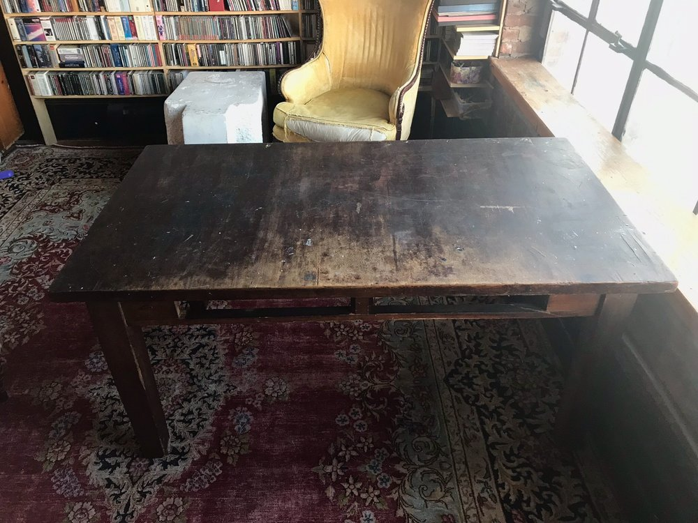 DRAWER LESS Worn Wood Table $200