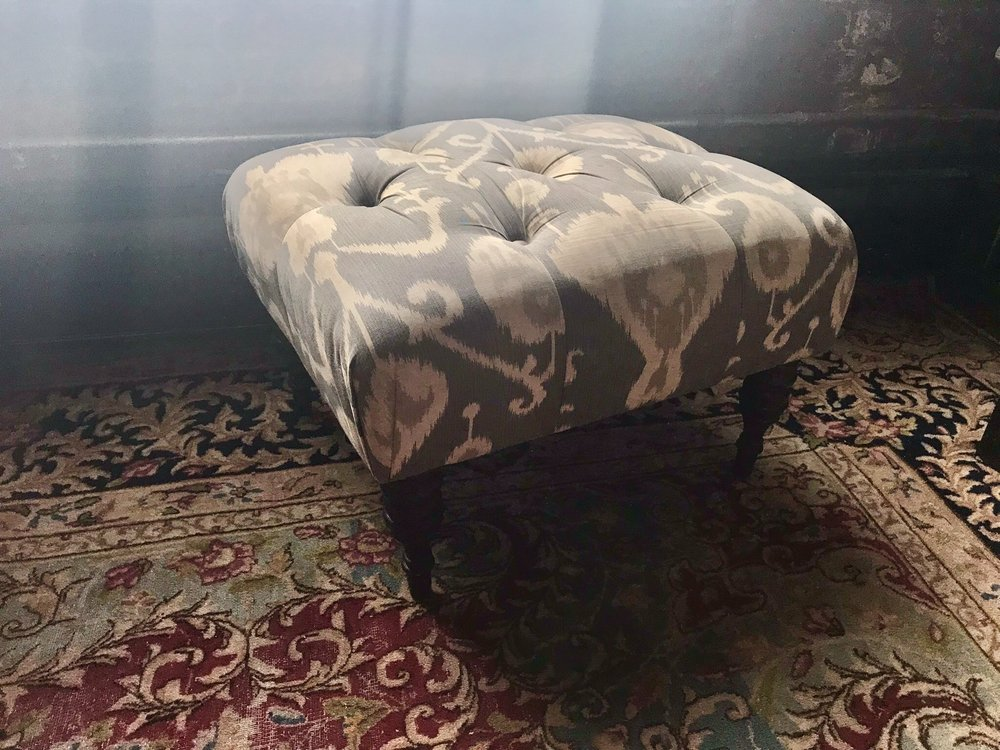 Tufted Grey Footstool $60