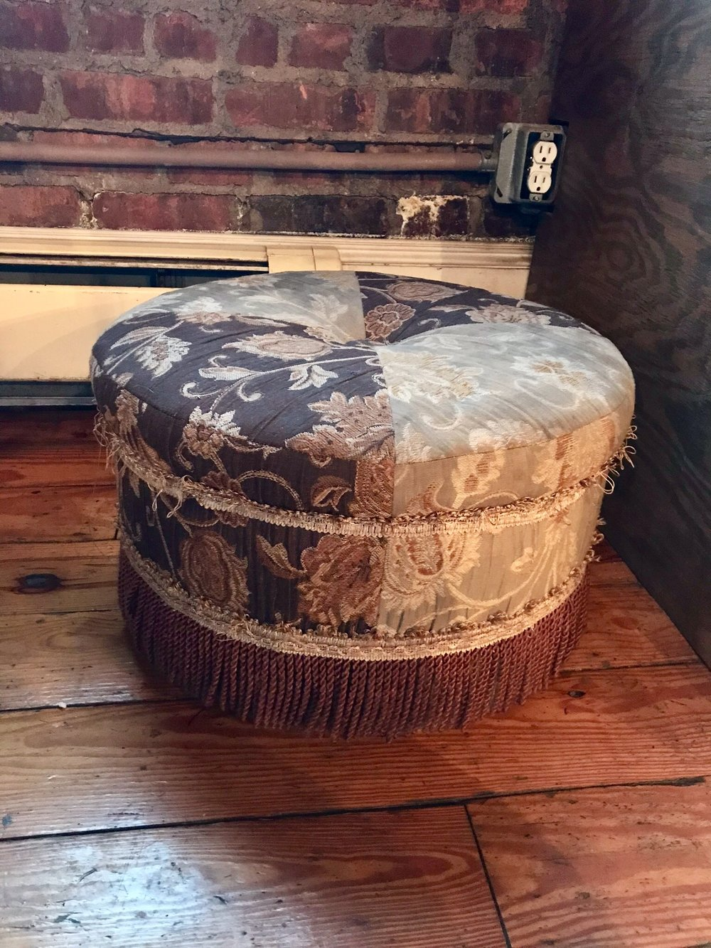 Floral Fringed Ottoman
