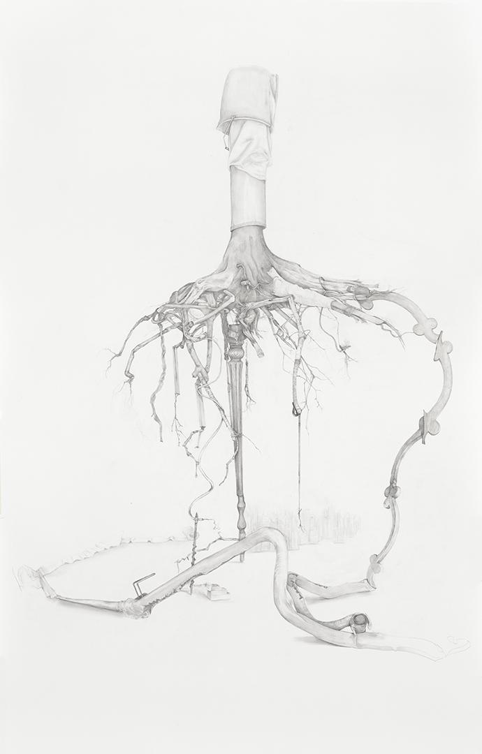 Reclaim, graphite on paper, 182 x 107 cm