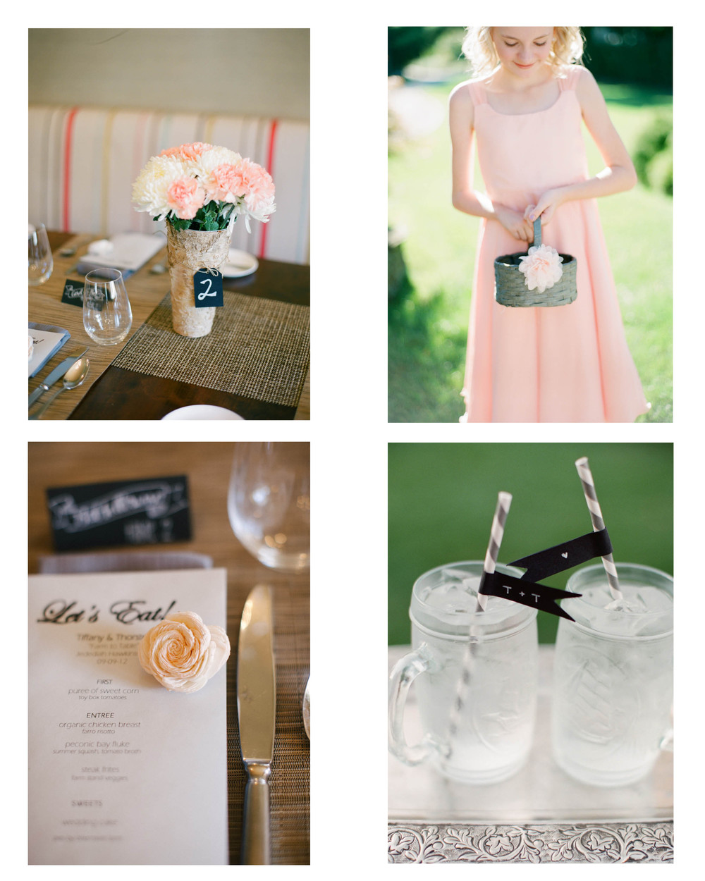 Purchases (Left to Right): 1. birch vases, chalkboard tags + twine 2. gray flower girl basket 3. sola flowers hand-painted with watercolor 4. gray striped paper straws