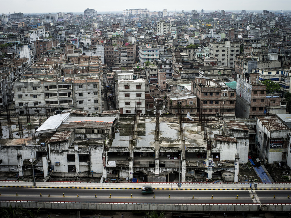 15 Million people live in the 325 sq km area of Dhaka City.