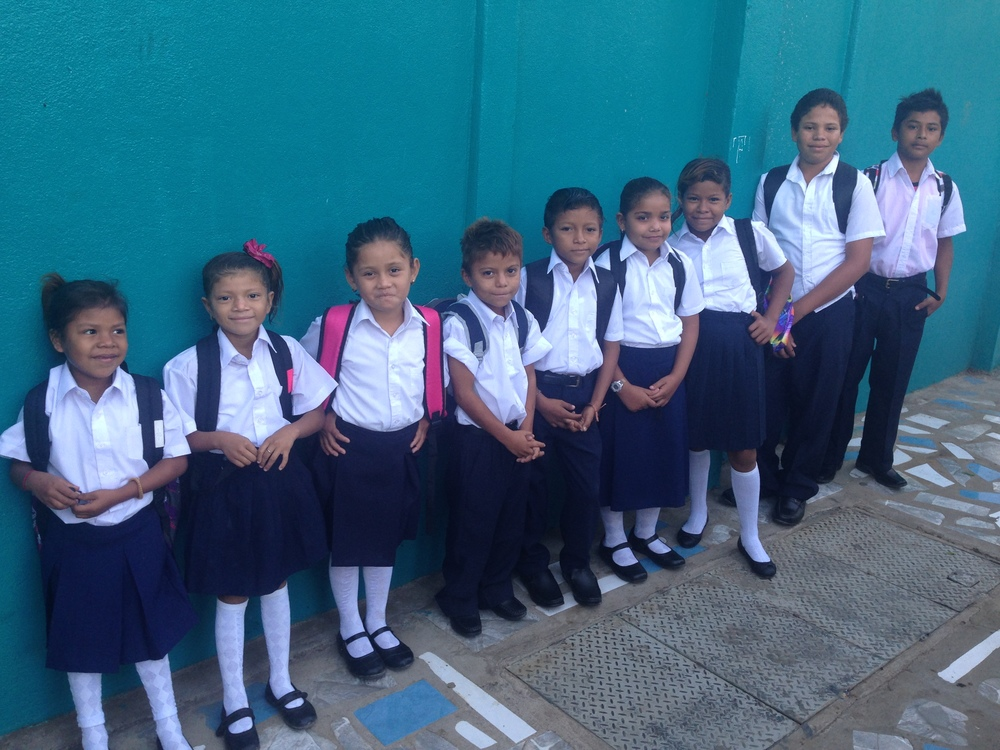 The primary students at their first day of private school.