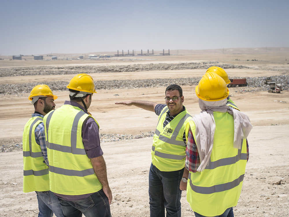 Yazeed Alshaqareen explains how the sanitary landfill works.