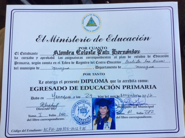 Alondra's diploma.
