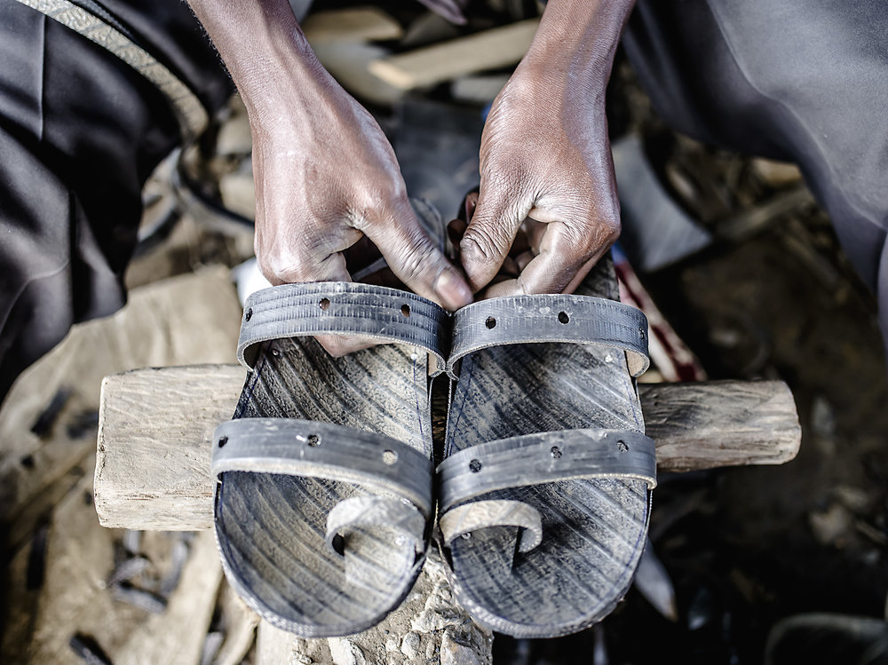 An example of the sandals made from car tires in Mbarara.