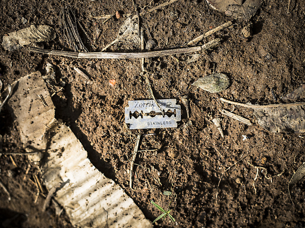 A razor blade that was thrown up in the hills in Bushenyi Ishaka.