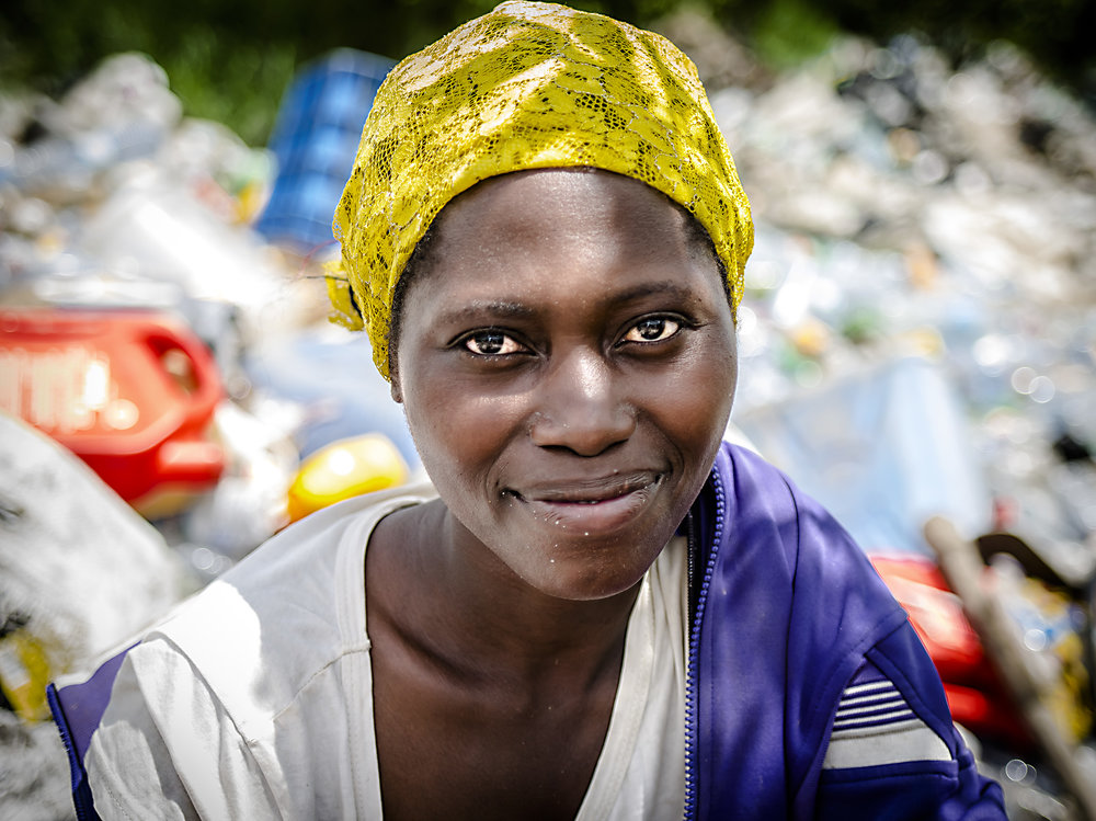 A woman sorting recyclable at the Masaka dumpsite.