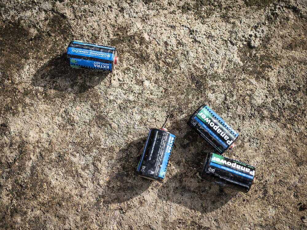 Sorted battery waste. Battery waste is another harmful problem in trash. Katikolo.