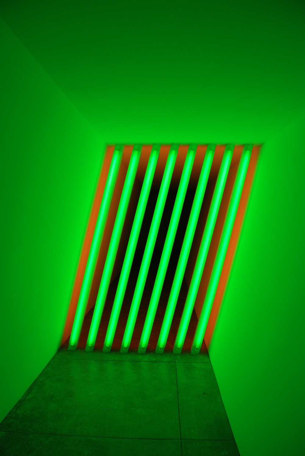 Detail of a Flavin installation at the Chinati Foundation in Marfa TX.