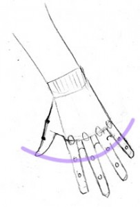Hand: Reaching Down: Tip of thumb in arc of first finger joints