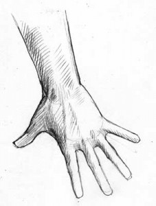 Hand, Reaching Down, Fingers Spread