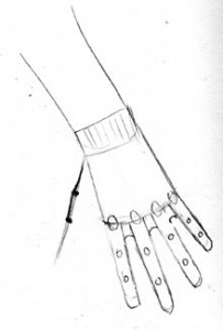 Hand: Reaching Down: Finger joints, end of palm between fingers