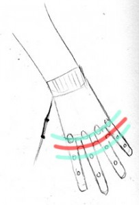 Hand: Reaching Down: End of palm 1/2-way between knuckles, first finger joints