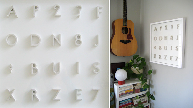 "If you are anything like me, you have things on a ""to do"" list that actually take years ""to do"". One of my lingering tasks has been to find a way to display these wonderful plaster pin-mounted letters I found at an antique shop in South Pasadena. It only took me about 5 years ""to do"" it. Thanks Ikea! {Note to Ikea: don't let my gratitude give you a big head, ok? You drive me crazy all other times. Keep that in mind when you're patting yourself on the back for solving this particular problem (let's be honest, it was just a frame), because next time your assembly diagrams and little allen wretches could actually push me to madness.}"