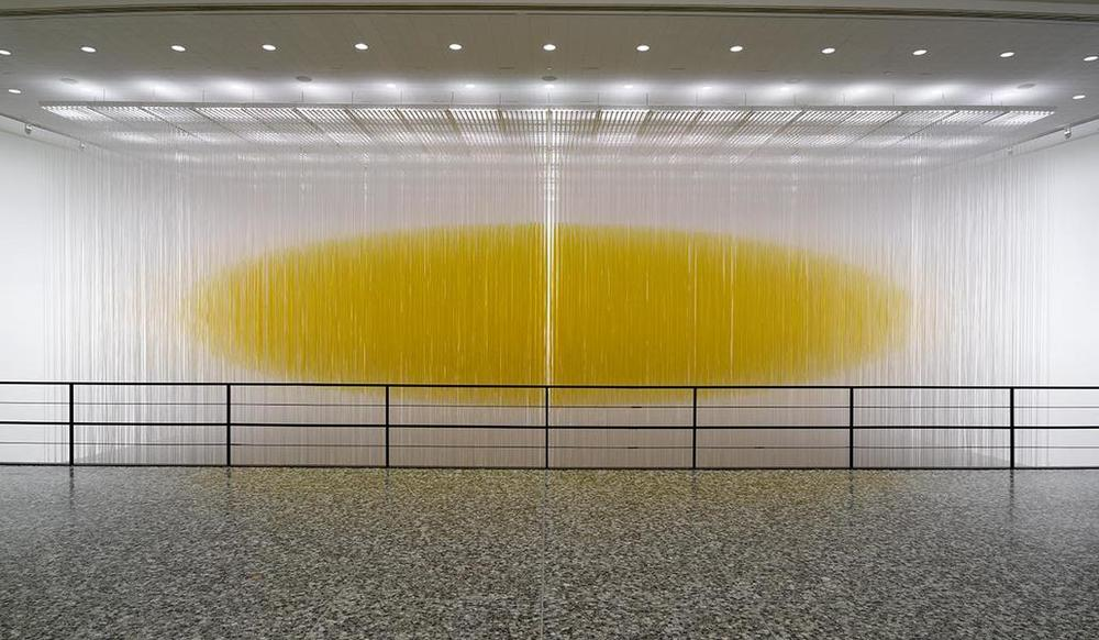 Jesús Rafael Soto,  Houston Penetrable , 2004–14, lacquered aluminum structure, PVC tubes, and water-based silkscreen ink, the Museum of Fine Arts, Houston, Museum purchase funded by the Caroline Wiess Law Accessions Endowment Fund. © Estate of Jesús Rafael Soto. Photograph © The Museum of Fine Arts, Houston, Thomas R. DuBrock, photographer.