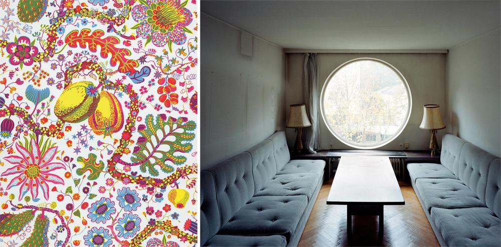 """Textile: """"Brazil"""", 1943–1945. © Svenskt Tenn, Stockholm, Sweden. Interior, Villa Beer, photograph by Stefan Oláh."""