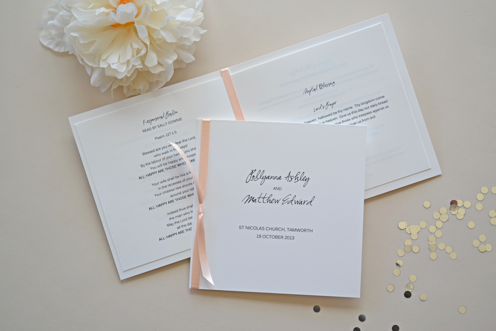 WEDDING PROGRAM BOOKLET — Simplicity Papers | Charming ...