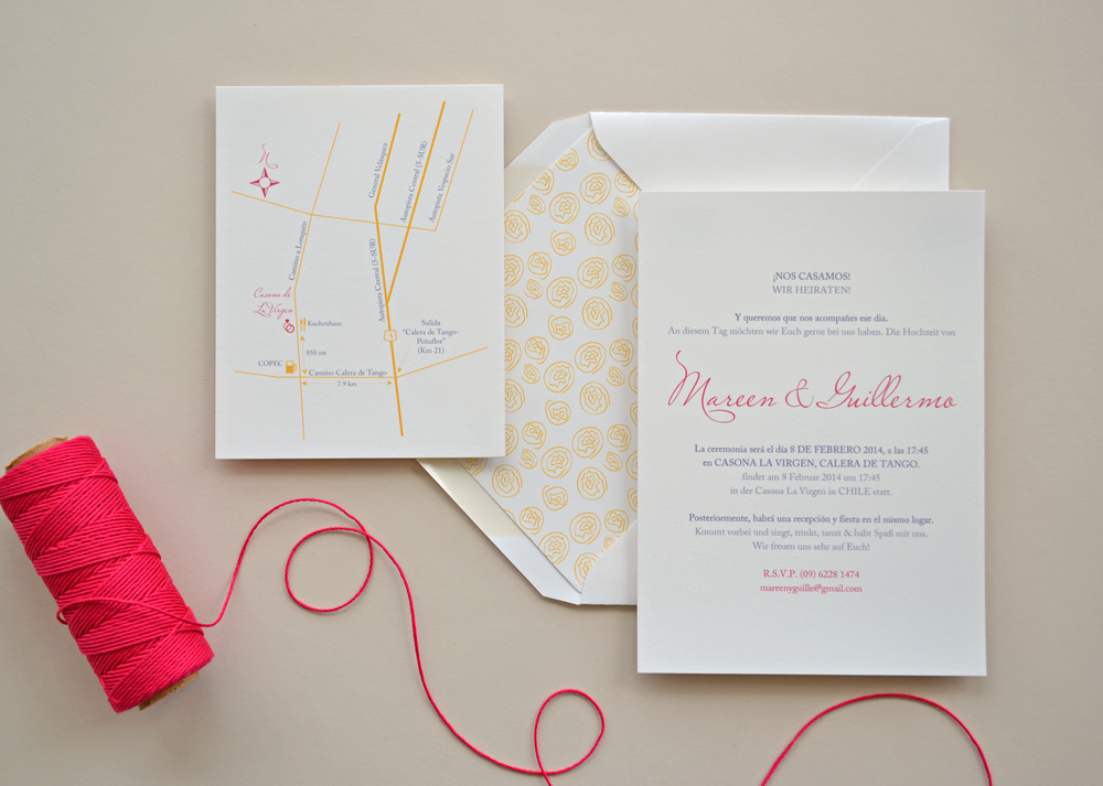 Creative Wedding Invitation in Spanish and German by  Simplicity Papers