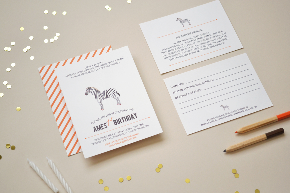 AMES FIRST BIRTHDAY SAFARI Simplicity Papers Charming Paper Goods
