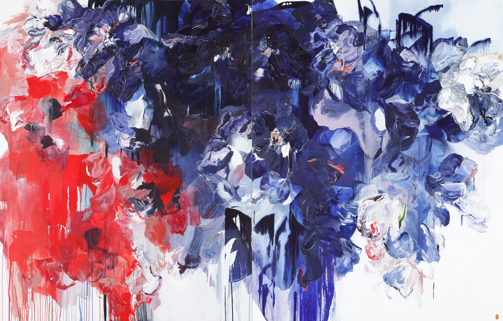 Falling Nighttime diptych 2x84x66 2017