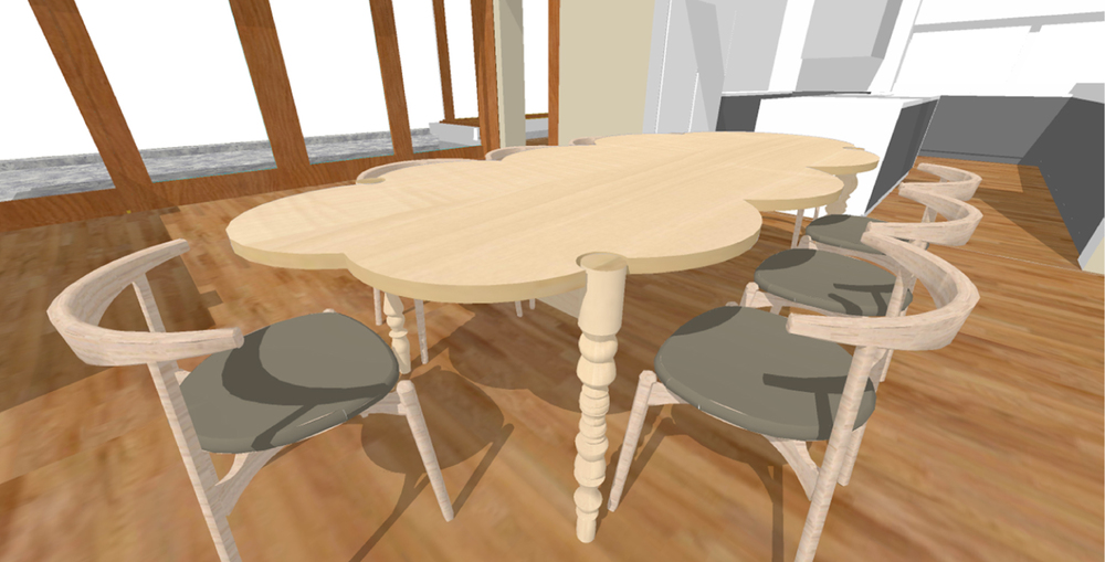 Rendering of the Cloud Table in the Dining Room of Emily's House