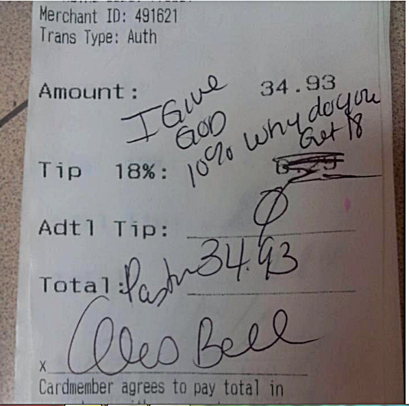 "Pastor Alois Bell left this ""tip"" for Applebees waitress Chelsea Welch SMDH!!"