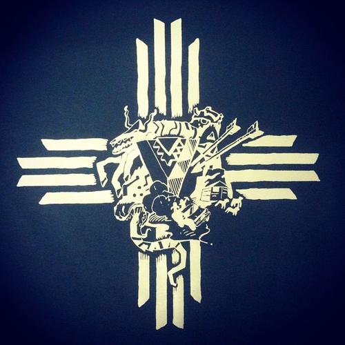 T-shirt design featuring monsters, rez truck, hogan, sheep, arrows