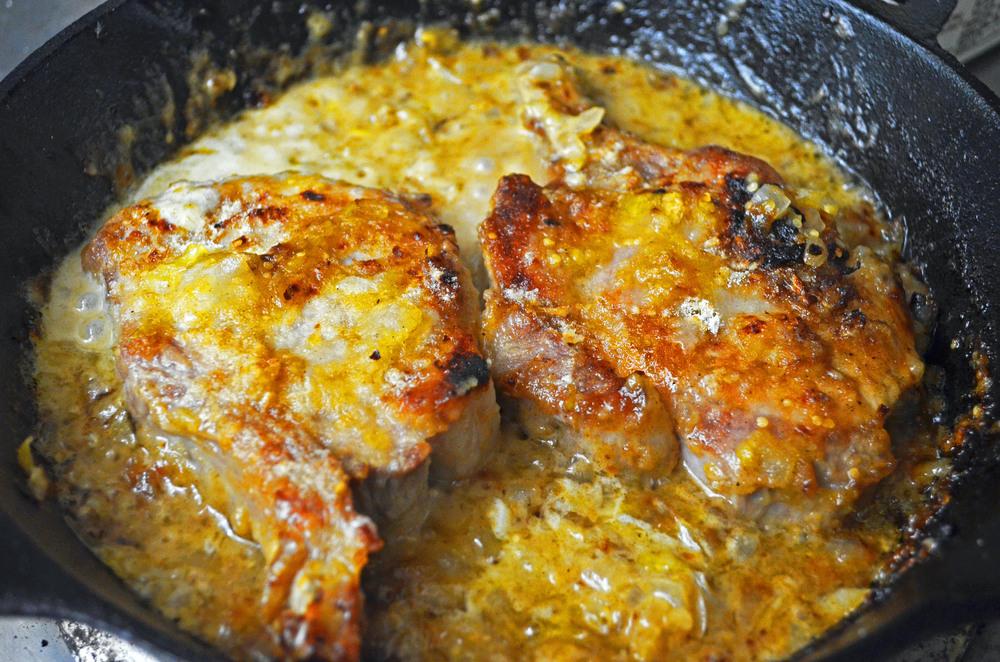Tomatillo creamy pork chop sauce masa crusted