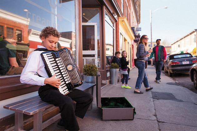 Accordion player Tor Stumo, 13, is in harmony with Great Barrington's acoustic music tradition. (Jason Houston)