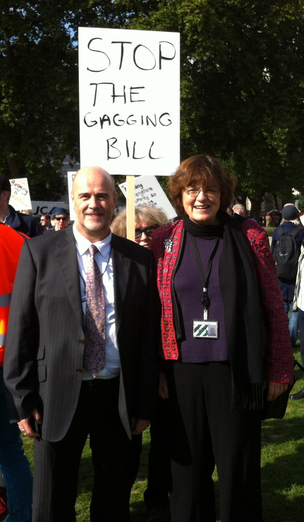 Fiona Mactaggart MP andJohn Howarth from Reading at the protest in Westminster square