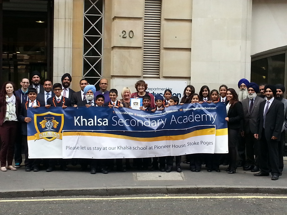Fiona Mactaggart MP with teachers and students from Khalsa Secondary Academy outside the Department for Education, handing in the petition