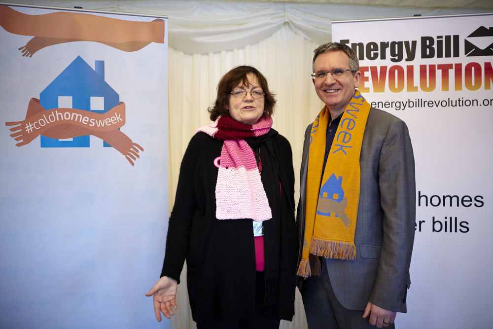 Fiona Mactaggart MP with Ed Matthew, Director of the Energy Bill Revolution.