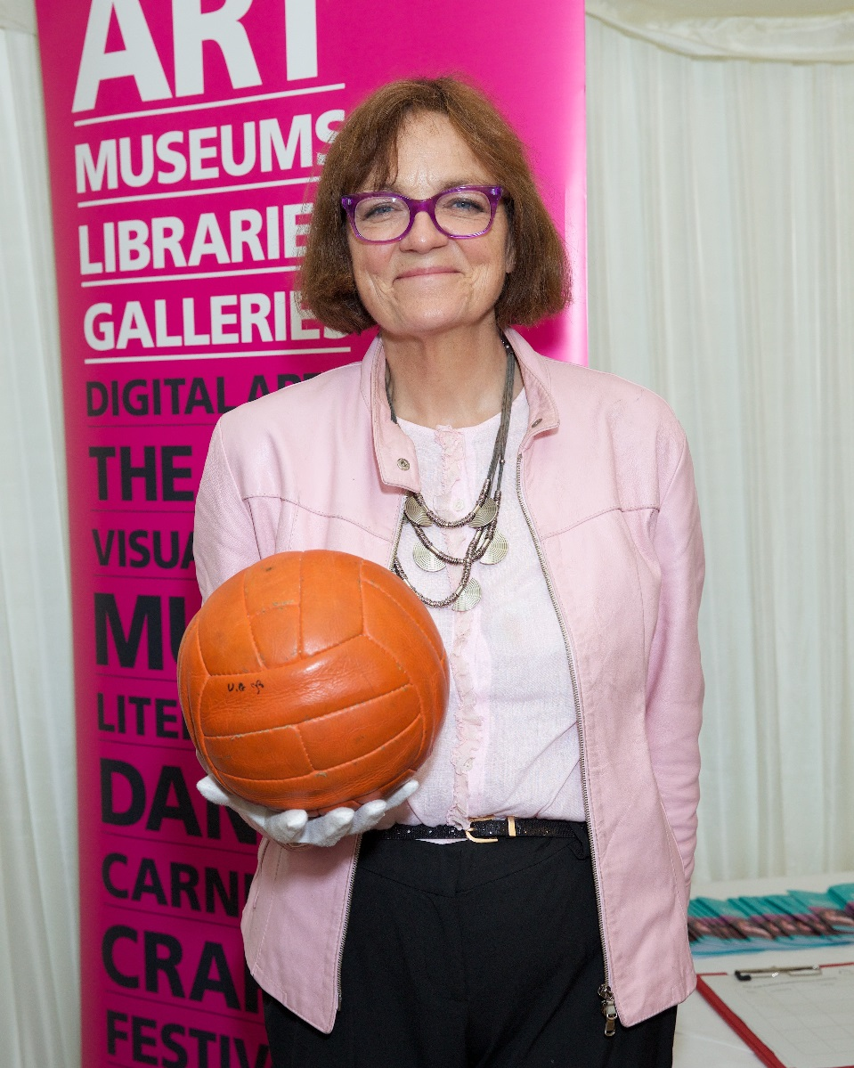 Fiona holding the ball used in the 1966 world cup final