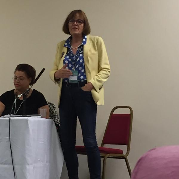Fiona speaking at the event at Labour Party conference. The picture also includes Gloria Mills who was also a member of Labour's Older Women's Commission.