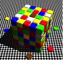 On this cube, the central colours of the upper and the front sides appear brown and orange respectively. They are in fact the same.
