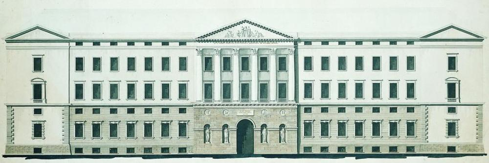 Christiansborg Slot. Af C.F. Hansens mange byggeopgaver i København var den største genopførelsen af Christiansborg Slot, der var brændt i 1794. Opgaven fik han overdraget i år 1800, og selve bygningskroppen stod færdig i  1822.   Slottet brændte desværre igen i 1884.     Tegning © Kunstakademiet