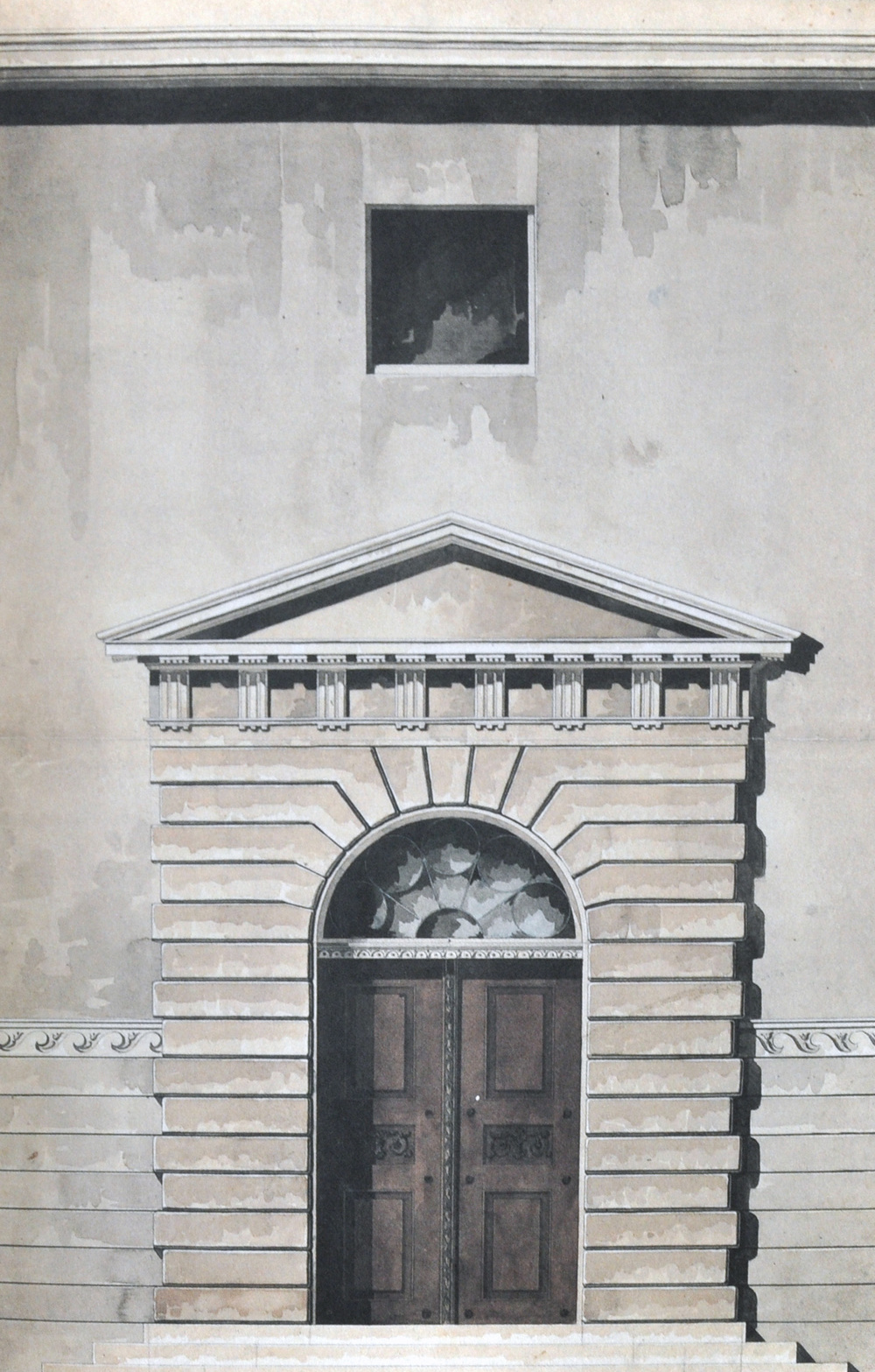 Rådhusets port mod Kattesundet.    Tegning © Kunstakademiet