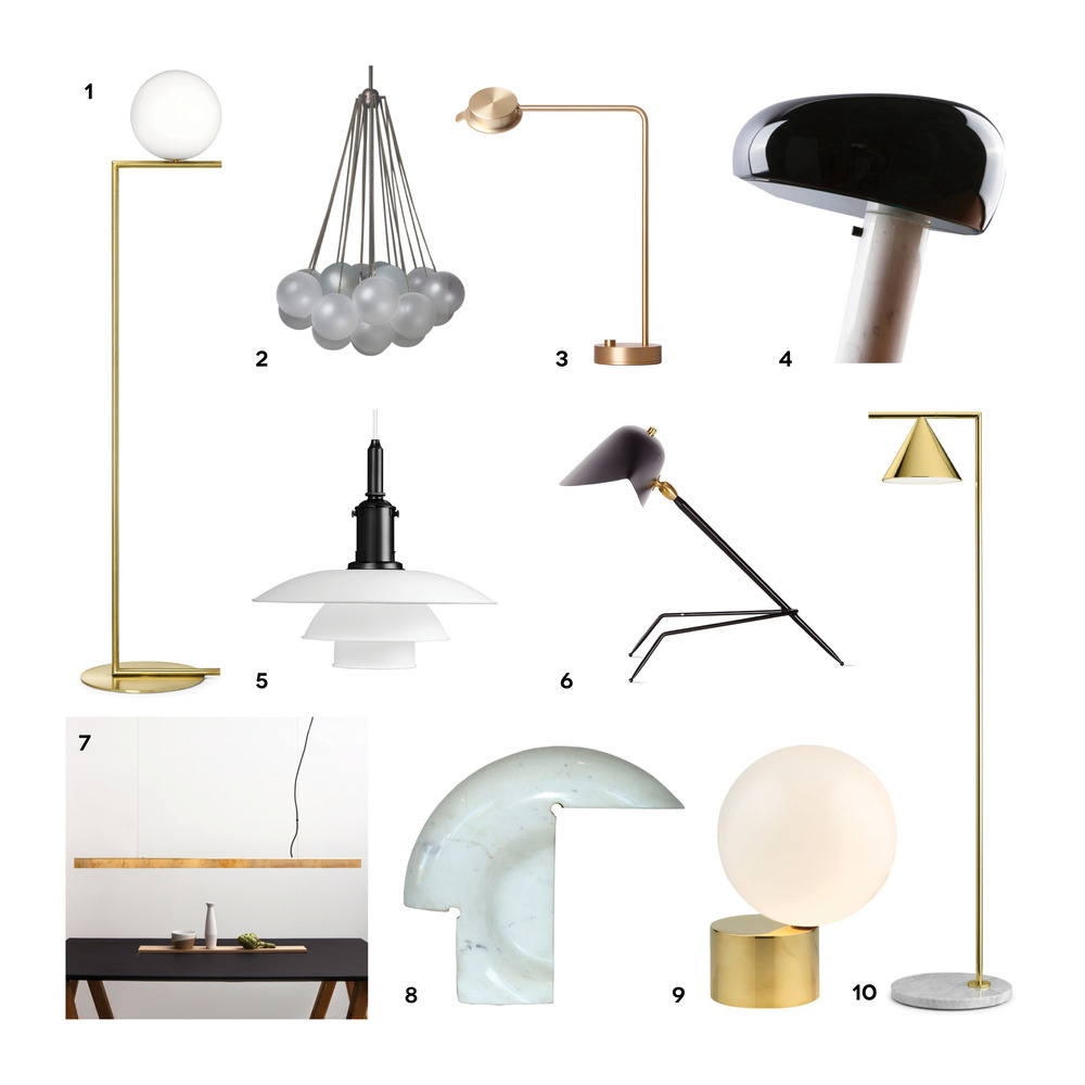 1. IC LIGHTS F, Flos 2. Cloud19, Apparatus 3. Chipperfield w102, Wästberg 4. Snoppy af Achille & Pier Giacomo Castiglioni, Flos 5. PH 3½/3, Louis Poulsen 6. Serge Mouille Tripod 7. A_Light, Anour 8. Biagio af Tobia Scarpa, Flos 9. Tip off the tongue, Michael Anastassiades 10. Captain Flint, Flos
