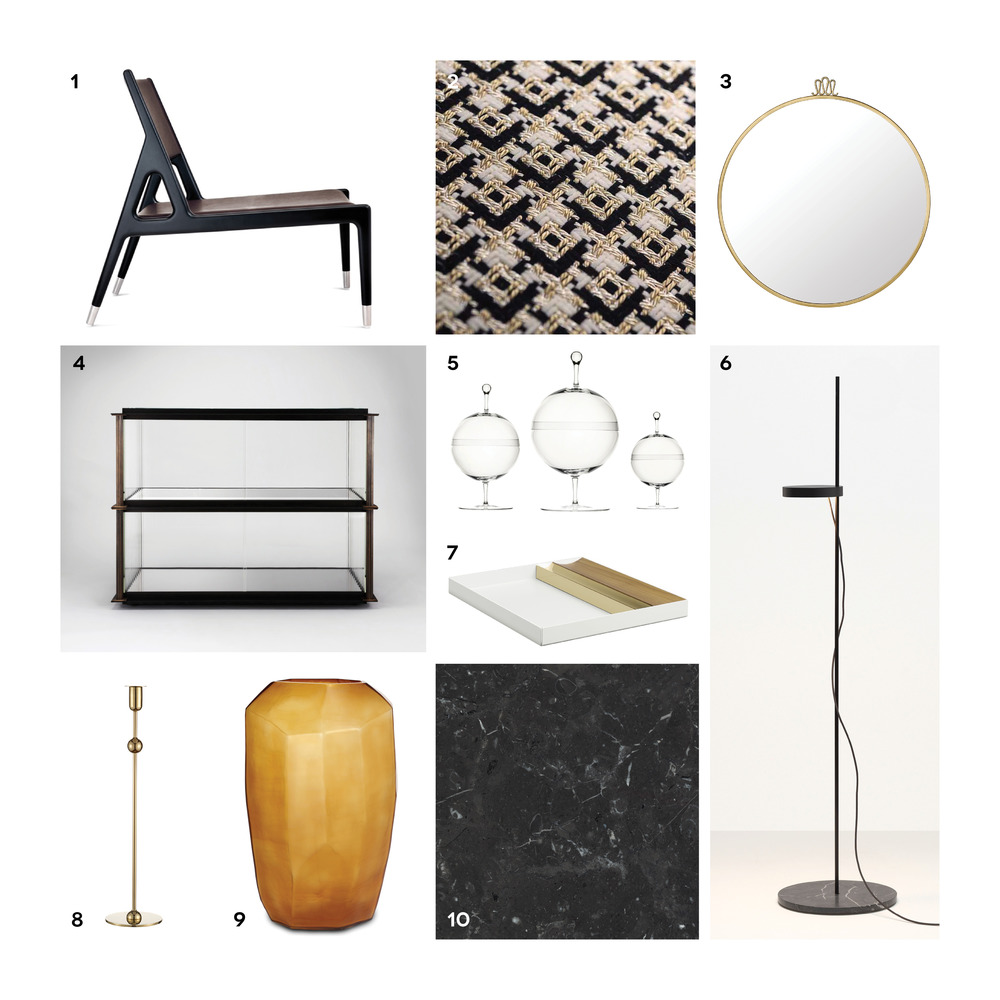 1. Sea Veiw loungestol, Ceccotti Collezioni 2. Stoffet Chérie, Dedar 3. Gio Ponti Randaccio-spejl, Gubi 4. Single Bay skænk, David Chipperfield 5. Candy bowl, Lobmeyr 6. Palo gulvlampe, e15 7. Ito bakke, e15 8. Kulan-stage, Svensk Tenn 9. Cubistic Tall-vase, The Architects Choice 10. Sort marmor