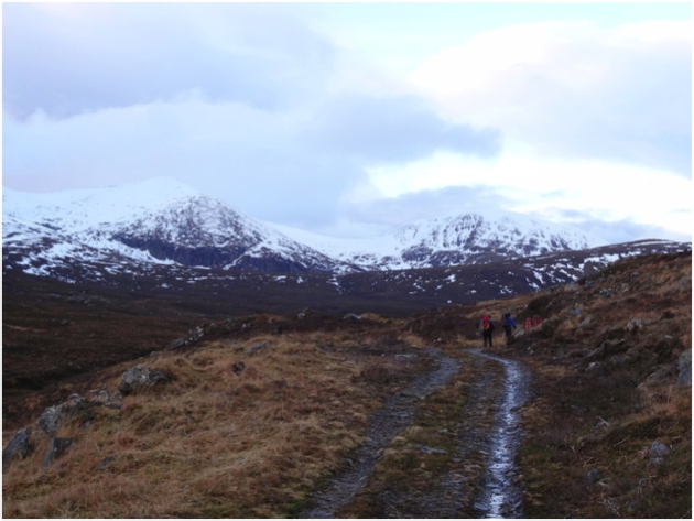 The walk in – it wasn't all as easy as this but still easier than the beasting we got on Liathach