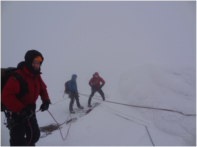 Now that's a bomber anchor! Belaying off the summit cairn on Sgur Morr