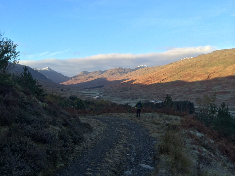 Looking back down the track to the glen