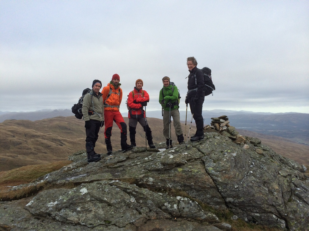 First summit of the day....left to right...Danny, Nigel, Calum, Mike and our report author Mary. Stevie (me) is behind the camera.