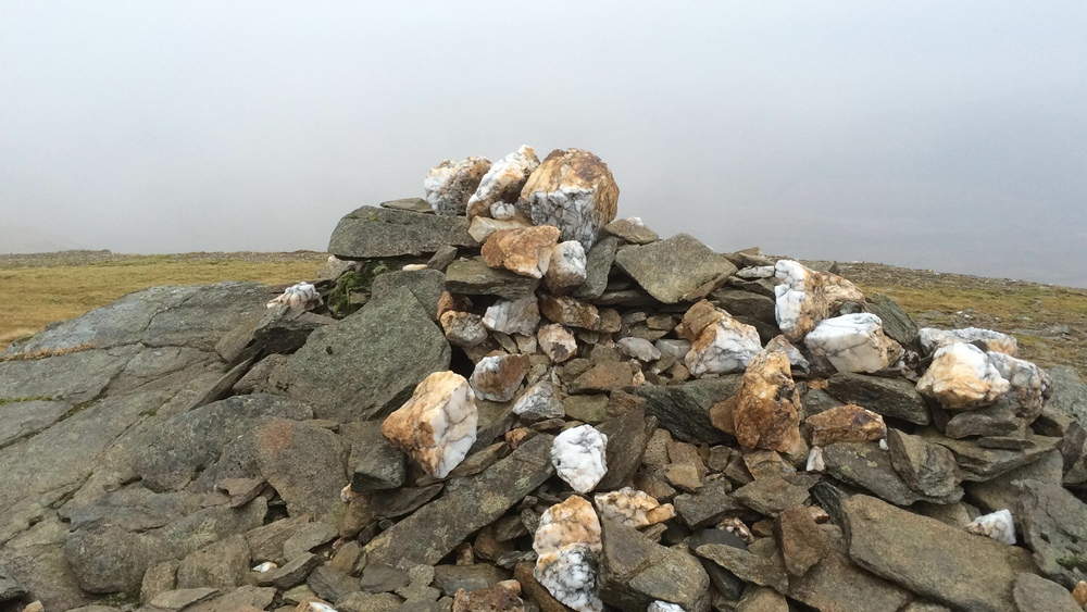 Summit cairn number two.....and where did all the quartz stone come from?