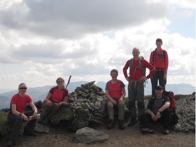 The 'red team' on top of Stuchd an Lochain – Lawers range behind