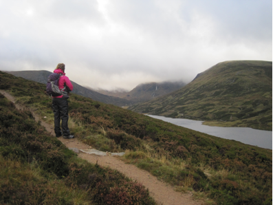Looking toward the top of Glen Callater: Carolyn models her new gear